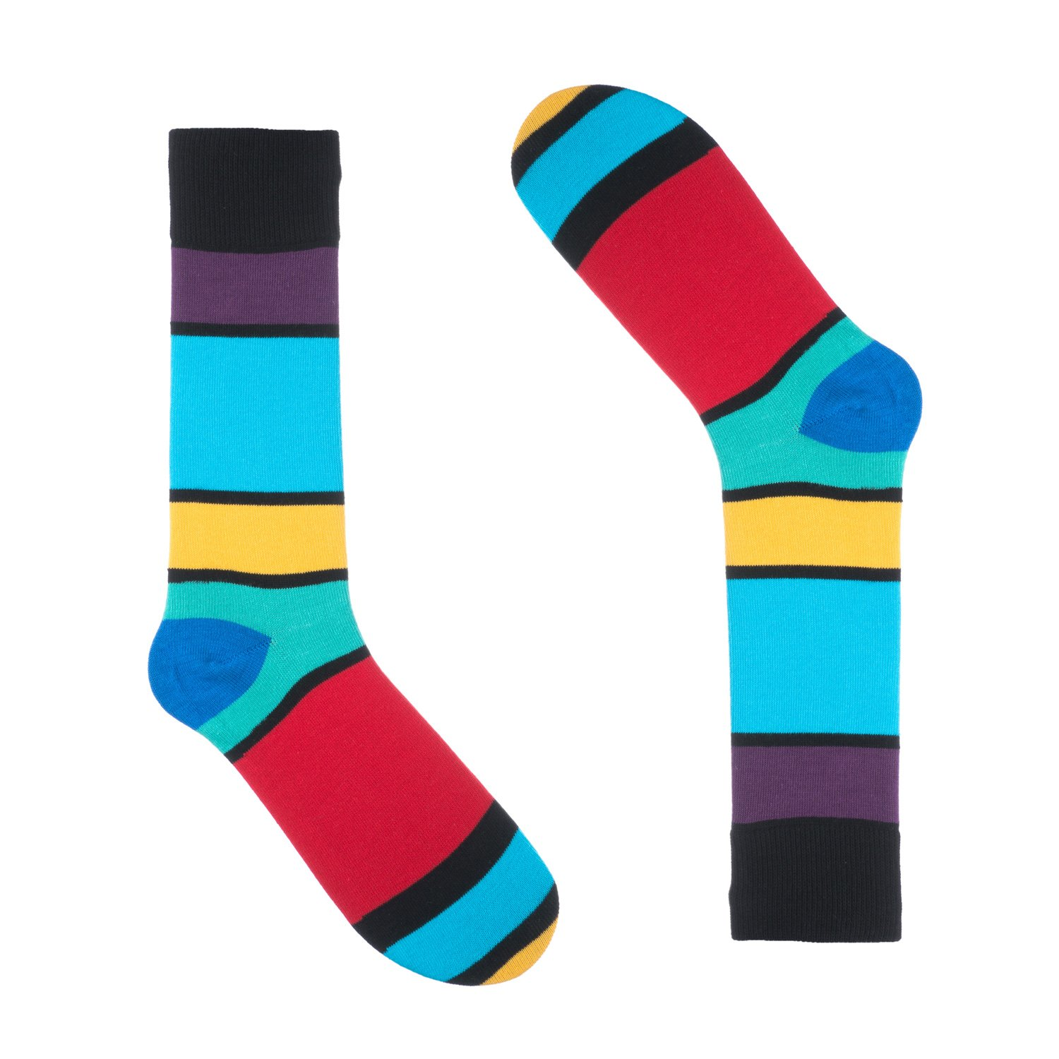 Ivory Dress Sock Colorful One Pair Size 8-13 Cotton Black Colorful Mason Striped Socks for Men