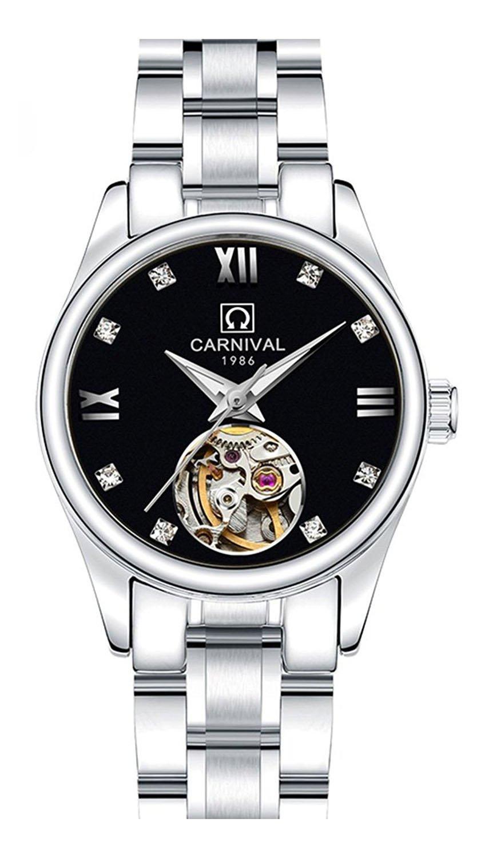 カーニバルレディース自動機械防水ステンレススチールラインストーンスケルトン腕時計 36mm Silver&Black B074YG3BMC Silver&Black Silver&Black