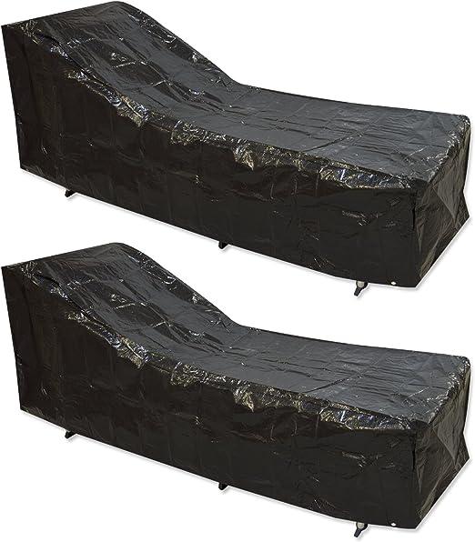 Woodside 2 fundas de muebles de jardín negras impermeables para hamacas/ tumbonas.: Amazon.es: Jardín