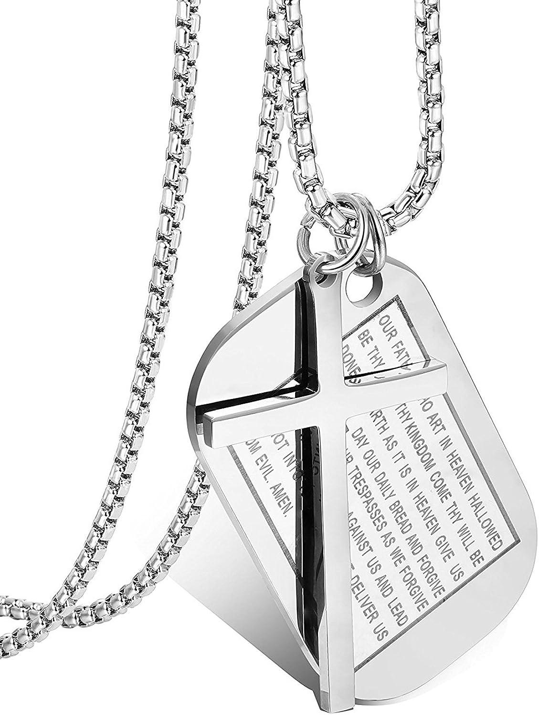 Besteel 3MM Acero Inoxidable Collar Colgante para Hombre Mujer Cruz Colgante Dog Tag Militar Collar Cadena Oración, 61CM