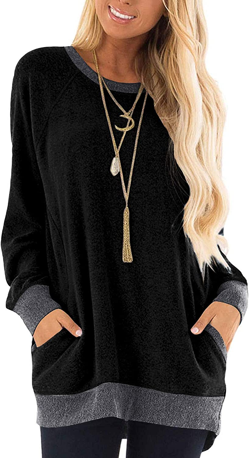 SNOWSONG Womens Pullover Sweatshirt V Neck Tunic Tops Loose Graphic Print Blouse with Pockets