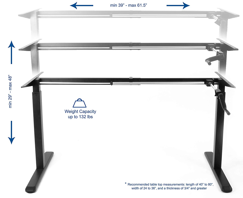 VIVO Black Manual Height Adjustable Stand Up Desk Frame Crank System Ergonomic Standing 2 Leg Workstation DESK-V101M
