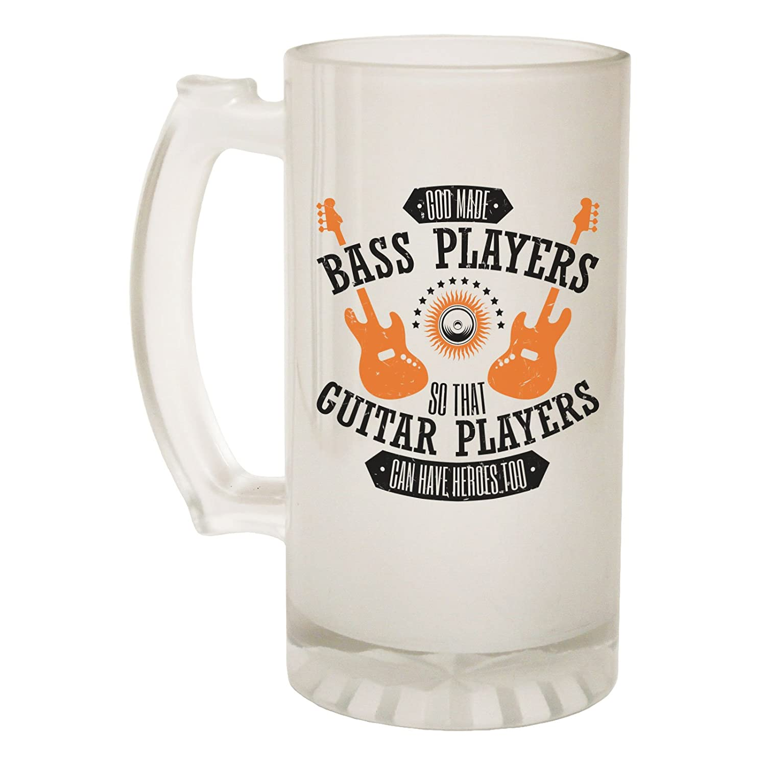 123t Frosted Glass Beer Stein - God Made Bass Players Band - Funny Novelty Birthday