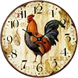 SkyNature Quartz Movement Silent Non-Ticking Wooden Wall Clocks (12 inch rooster)