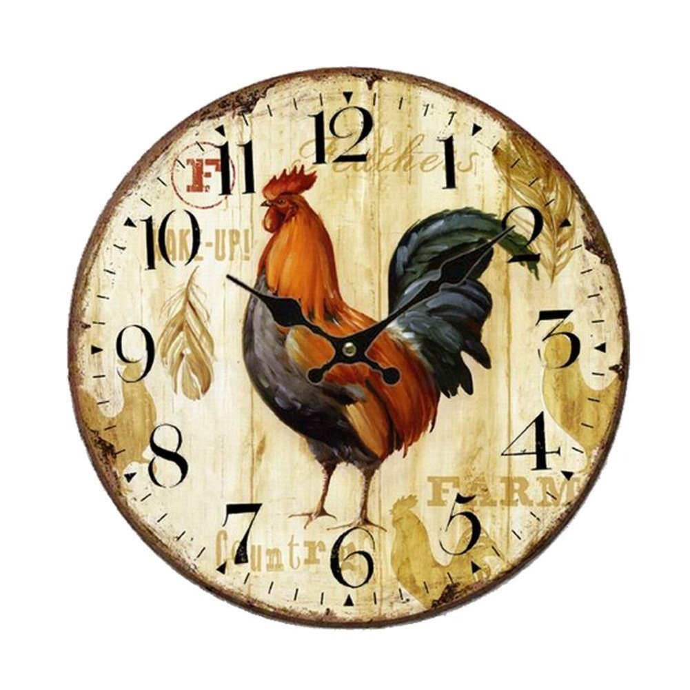 Vintage Wall Clock Home Kitchen Rooster Decor Rustic Wooden Antique ...