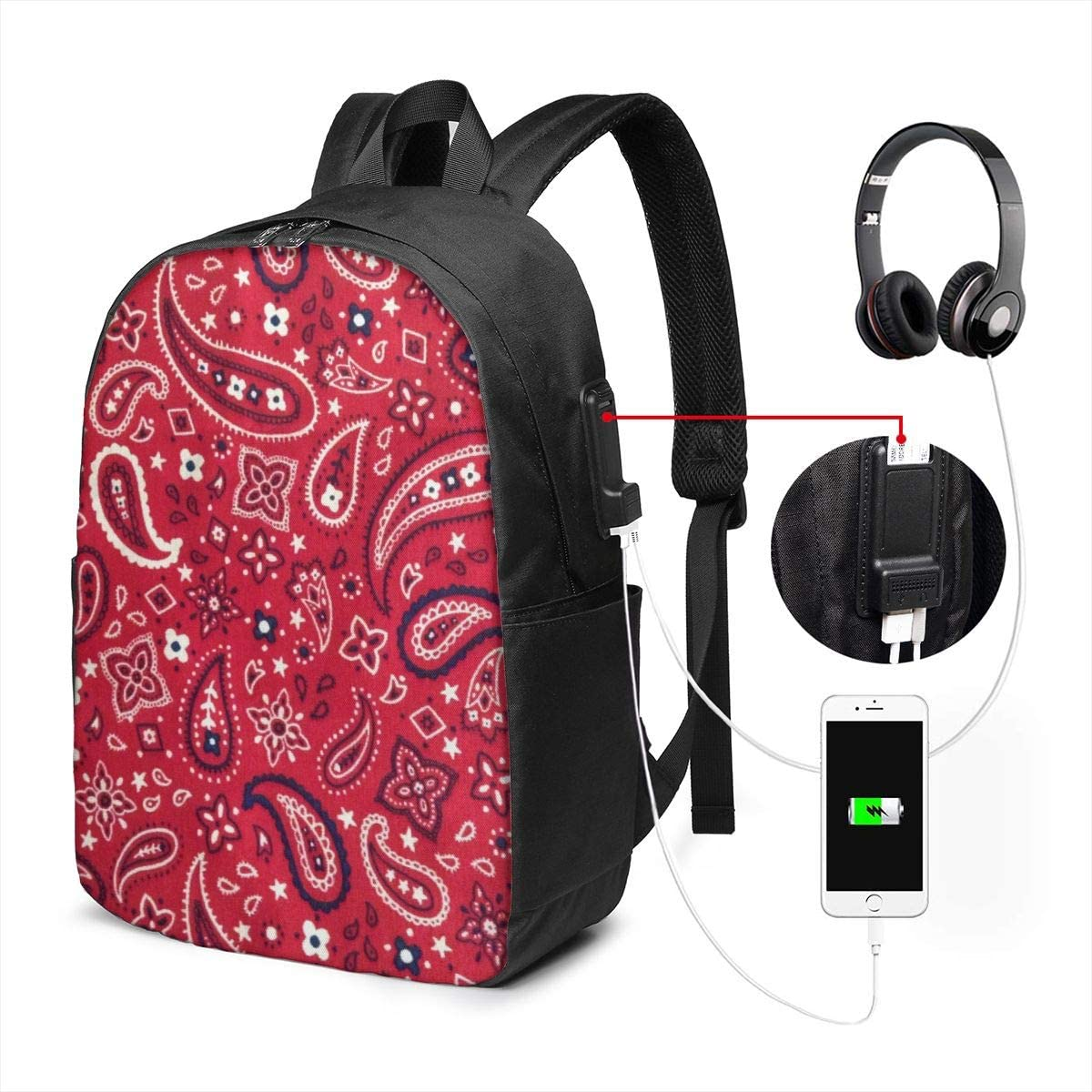 USB PORT polyester Backpack Red