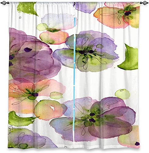 Dia Noche WCUDawnDermanPansyFall1 Unlined Window Curtains, 40W x 52H in