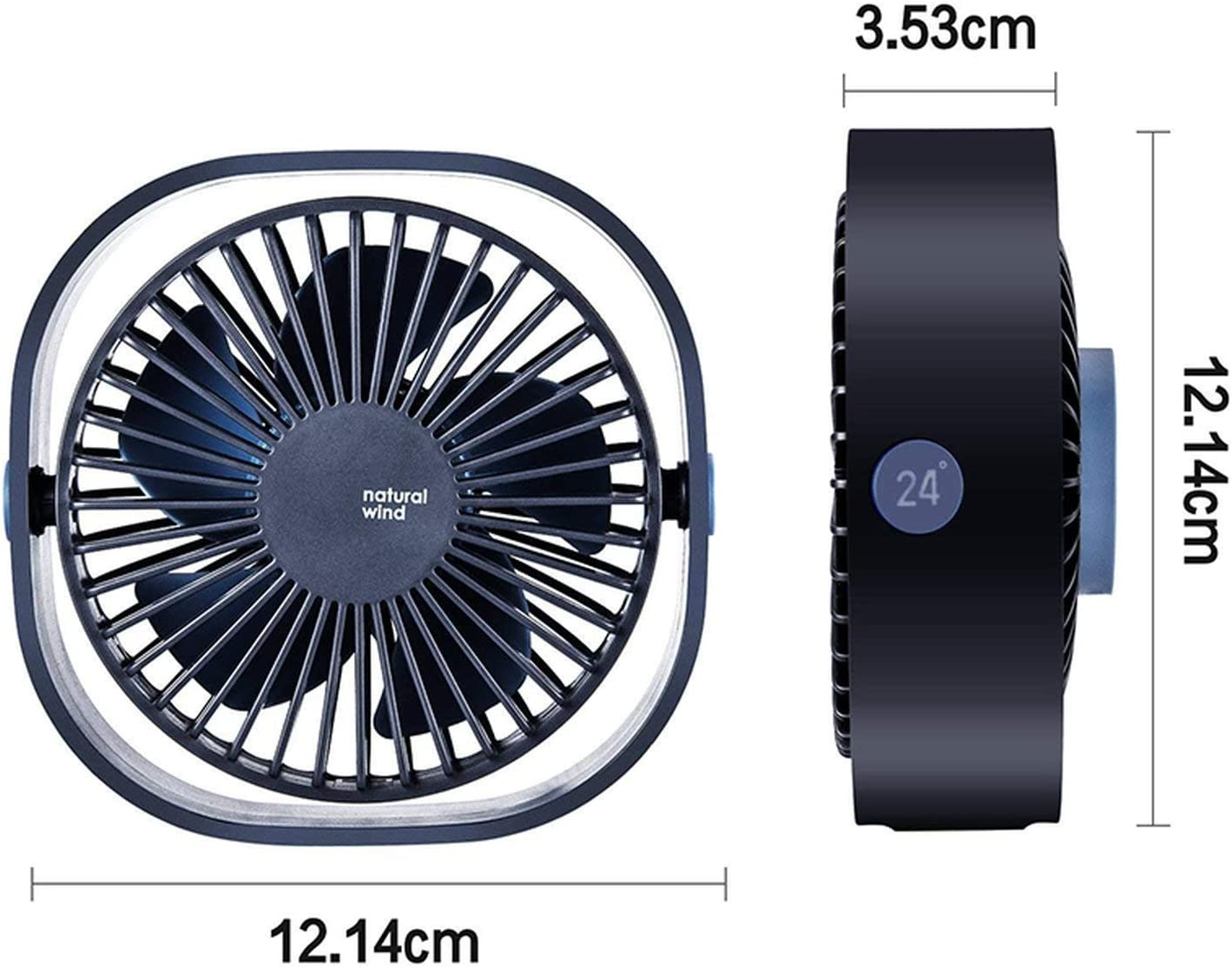3 Speed Mini USB Desktop Fan Personal Portable Cooling Fan with 360 Rotation Adjustable Angle for Office Household Traveling,Black