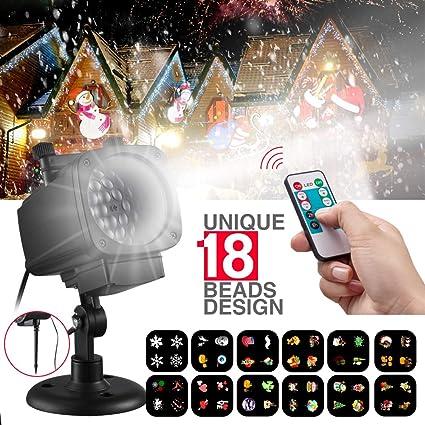 Proiettore Luci Di Natale Amazon.Proiettore Luci Di Natale Kinso Design Unico 18 Led Proiettore Da Esterno Per Decorazione Natale Halloween Compleanno Festa Di Matrimonio Festival
