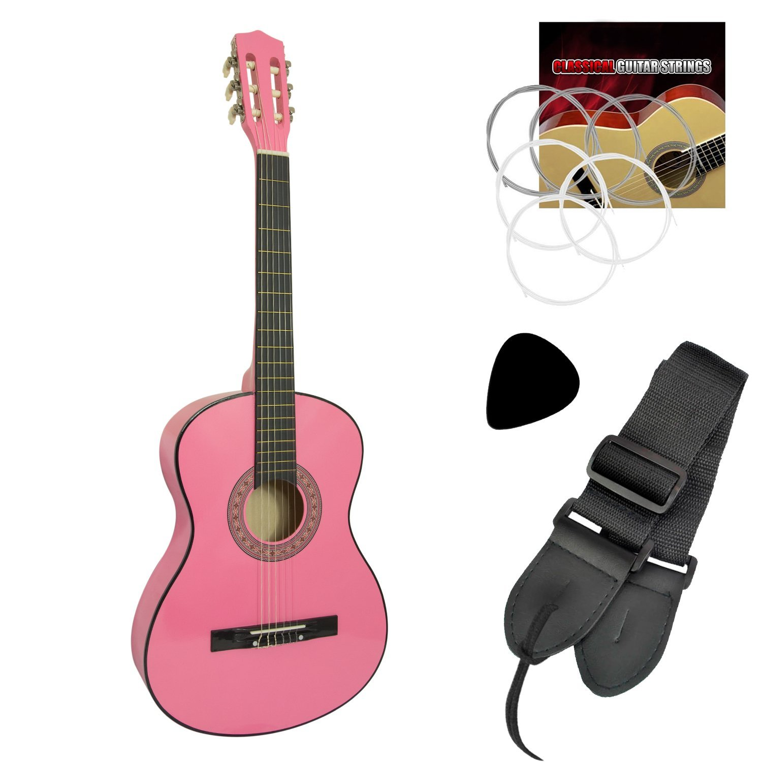 Jasmin Classical Guitar for Beginners - Pink - 4/4 Tiger CLG3-PK-NB