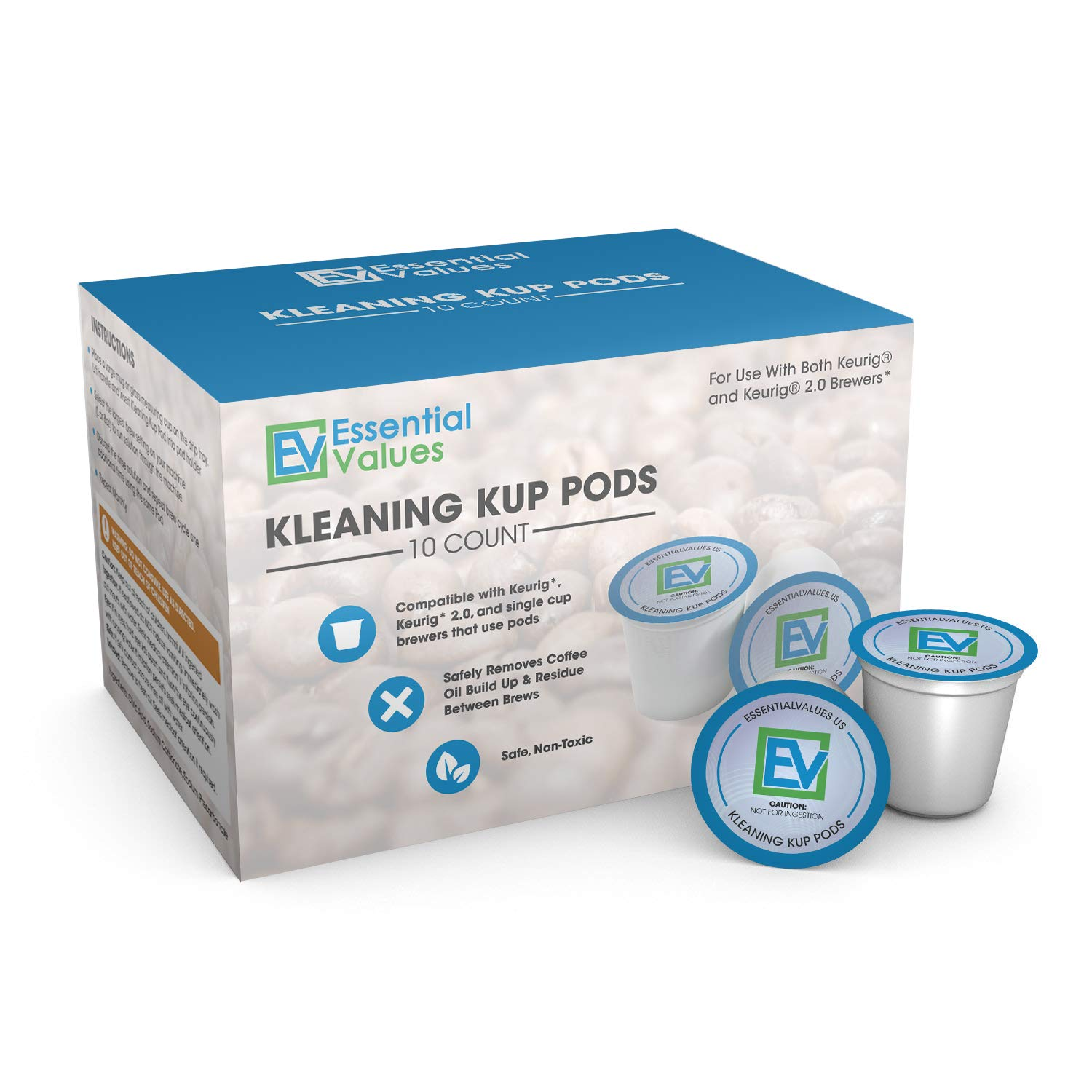 Essential Values 10PK Cleaning & Rinse K Cup Pods For All Keurig Machines, 2.0 Compatible