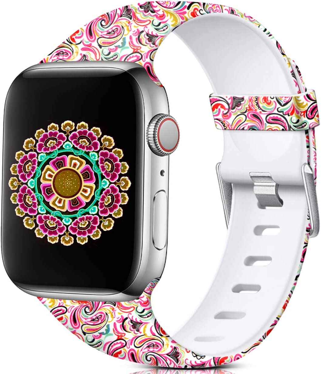Nofeda Floral Bands Compatible with Apple Watch 40mm 38mm for Women Men, Soft Fadeless Pattern Printed Sport Band Replacement for iWatch Series 5,4,3,2,1, S/M, Paisley Pattern