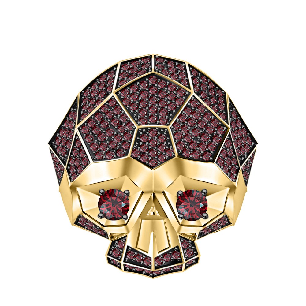 RUDRAFASHION Men's & Women's 14K Yellow Gold Plated 3.80 ctw Created Red Garnet Half Jaw Skull Ring