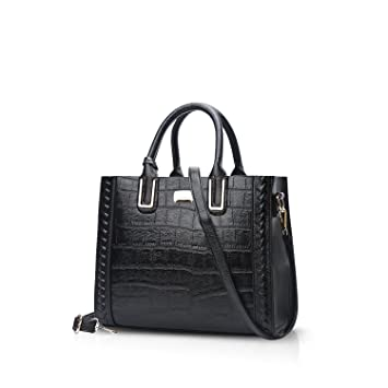 NICOLE&DORIS Luxus Frauen Top Griff Handtaschen Umhängetasche Crossbody Tasche Tote Satchel Geldbörse Krokodil Muster PU Leder Schwarz