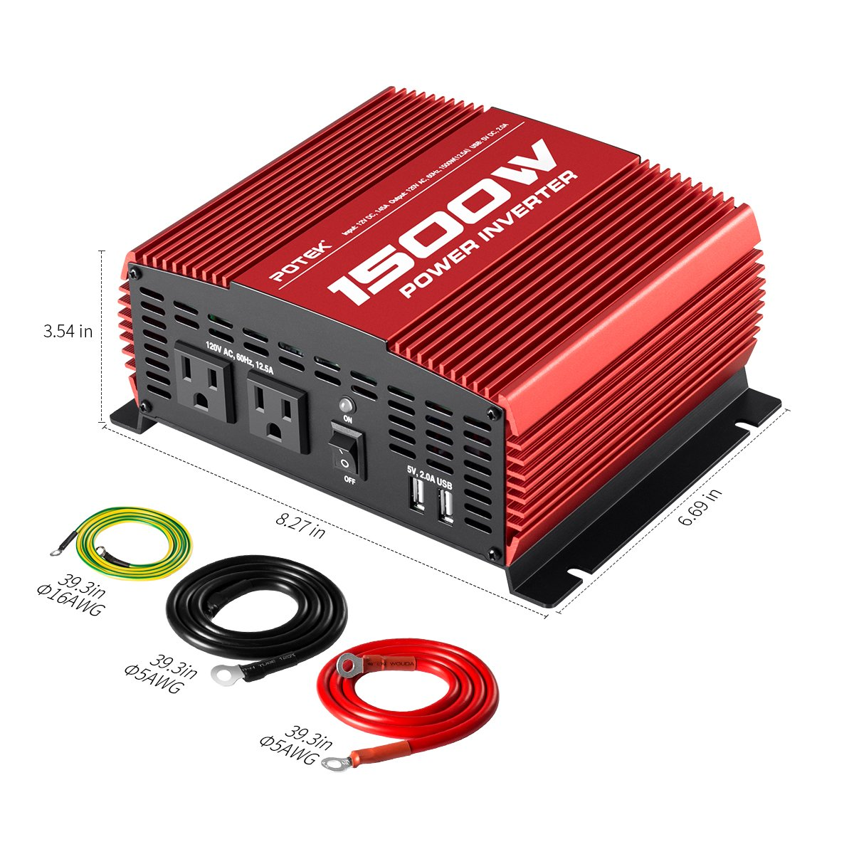 Amazon.com: POTEK 1500W Power Inverter DC 12V to AC 110V Car Inverter with  Dual AC Outlets and Dual USB Ports: Automotive