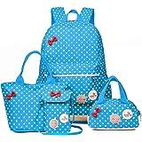 coofig Girls Cute Canvas Backpack School Kids Lightweight Lunch Bookbag Multifunction Laptop Sets