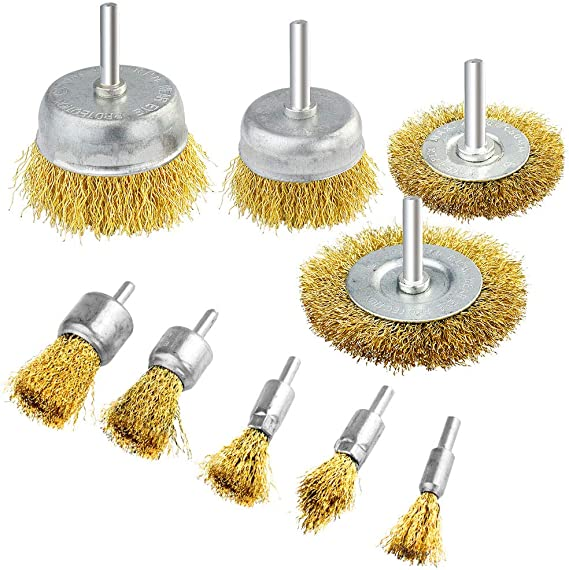 Hand Wire Brush Set Nylon Brass Steel Rust Paint Removal Remover DIY Hobby