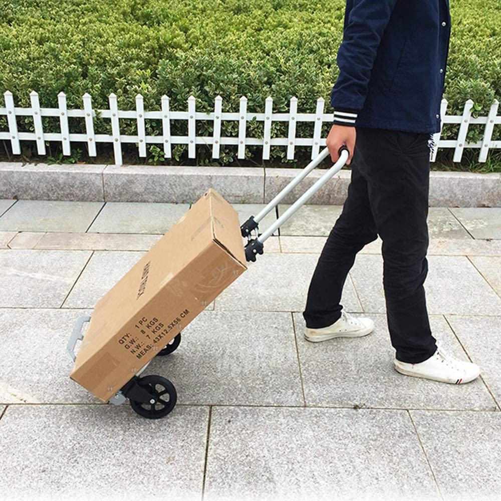 BHUS-KT-2124 165lbs Capacity Hand Cart and Dolly Ideal sogesfurniture Heavy Duty Hand Truck and Dolly Folding Hand Truck Aluminum Portable Folding Hand Cart  with Adjustable Shaft