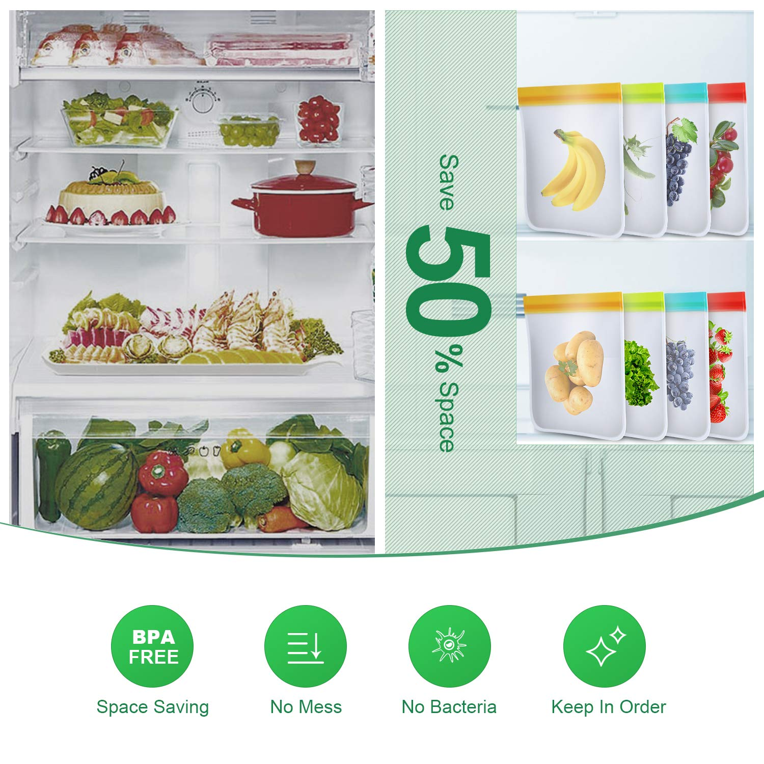 bedee Reusable Food Storage Bags - 8 Pack Extra Thick Ziplock Bags Leakproof Reusable Sandwich Bags - FDA Grade PEVA Snack & Lunch Bags for Kids Snacks, Fruit, Travel, Home Organization