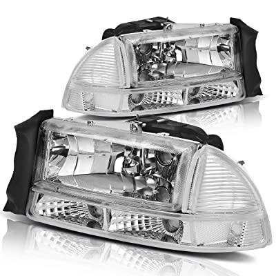 For 1997-2004 Dodge Dakota 1998-2003 Dodge Durango Headlight Assembly Headlamp Replacement with Park Signal Lamp Crystal Housing: Automotive