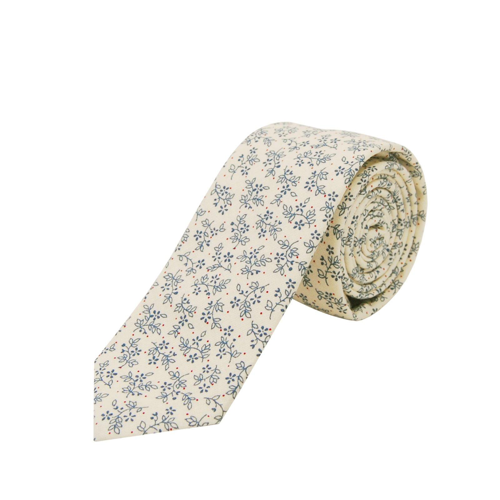 Jnjstella Men's Cotton Floral Skinny Necktie Tie (Type 8)