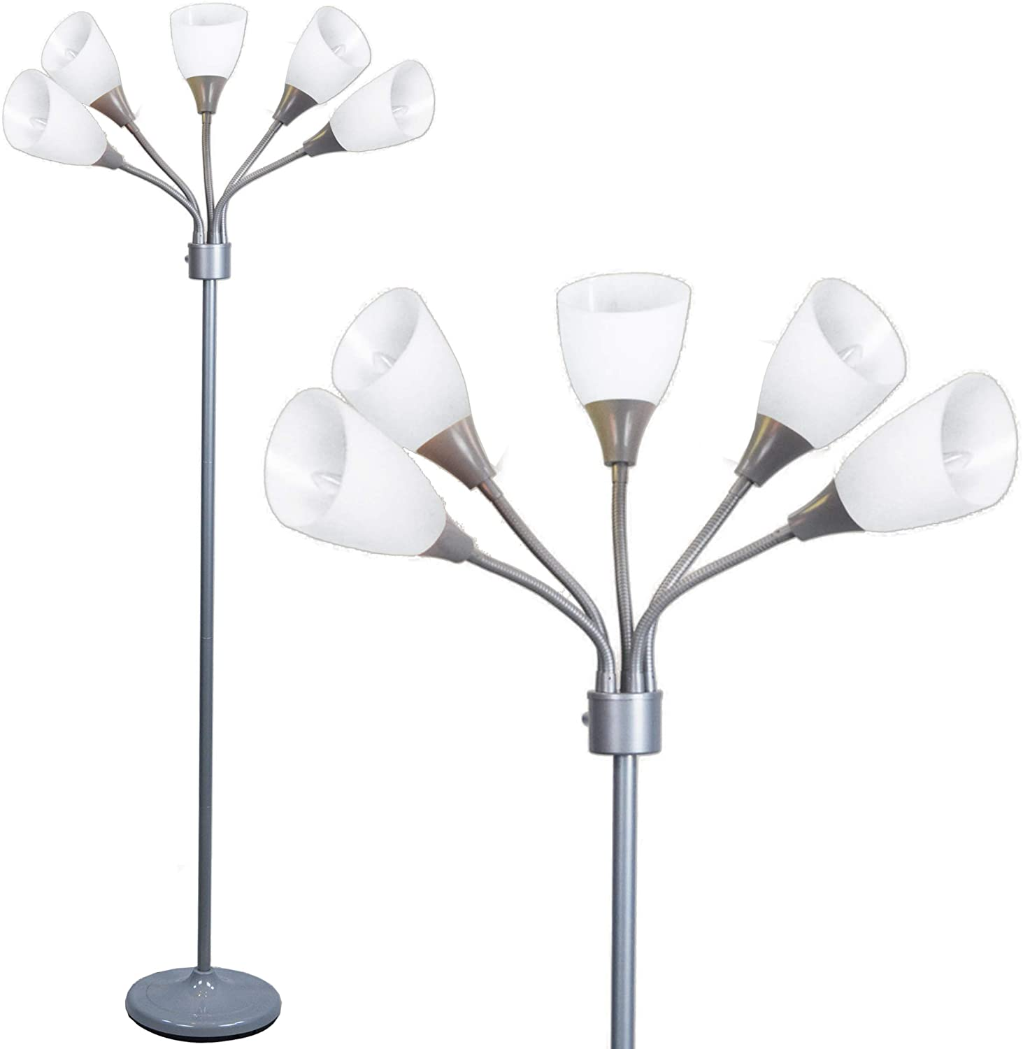Modern Floor Lamp Room Light by Lightaccents - Medusa Multi Head Standing Lamp Bedroom Light with 5 Adjustable White Acrylic Reading Shades Room Light (Silver) - -