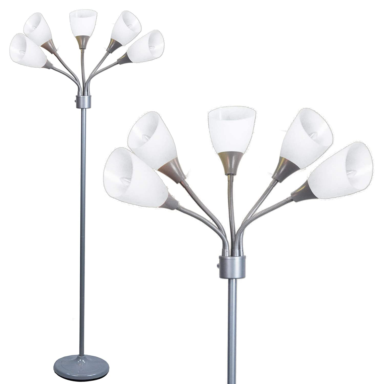 Light Accents MEDUSA Grey Floor Lamp with White Acrylic Shades