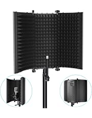 Neewer Microphone Isolation Shield - Foldable Tri-Fold Studio Mic Sound Absorbing Foam Reflector for Any Condenser Microphone Studio Recording Equipment (Black)