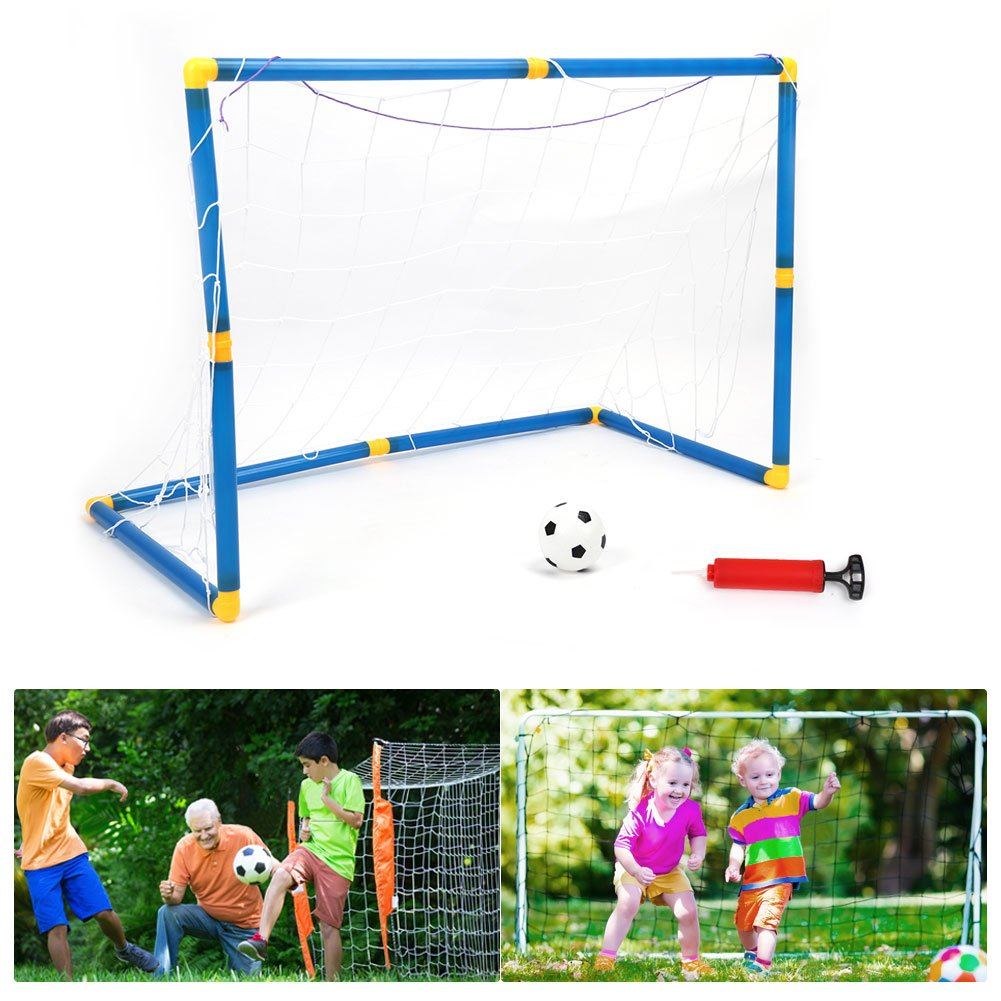 VGEBY Set da Calcio per Bambini, Set Porta Calcio con Rete e Pomp per Addestramento di Calcio 60cm