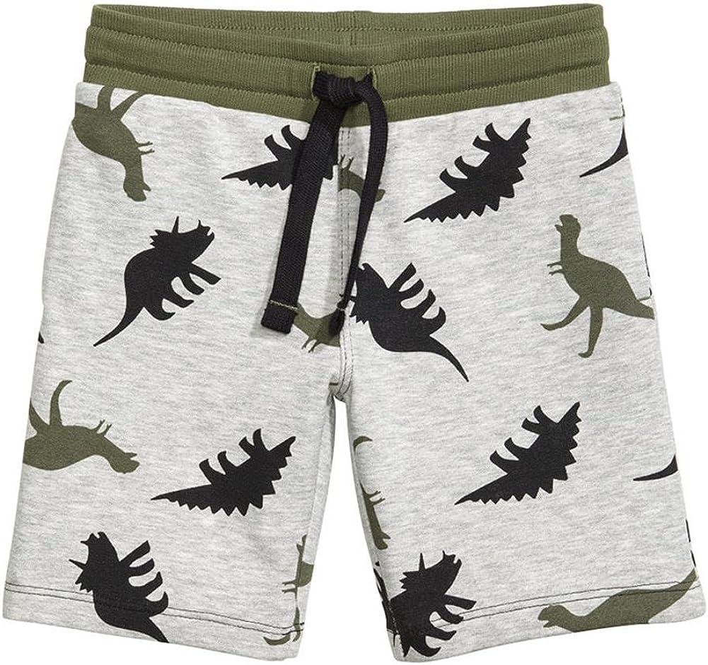 Coralup Boys Pull On Elastic Waist Cotton Dinosaur Excavator Camouflage Shorts 1-10 Years