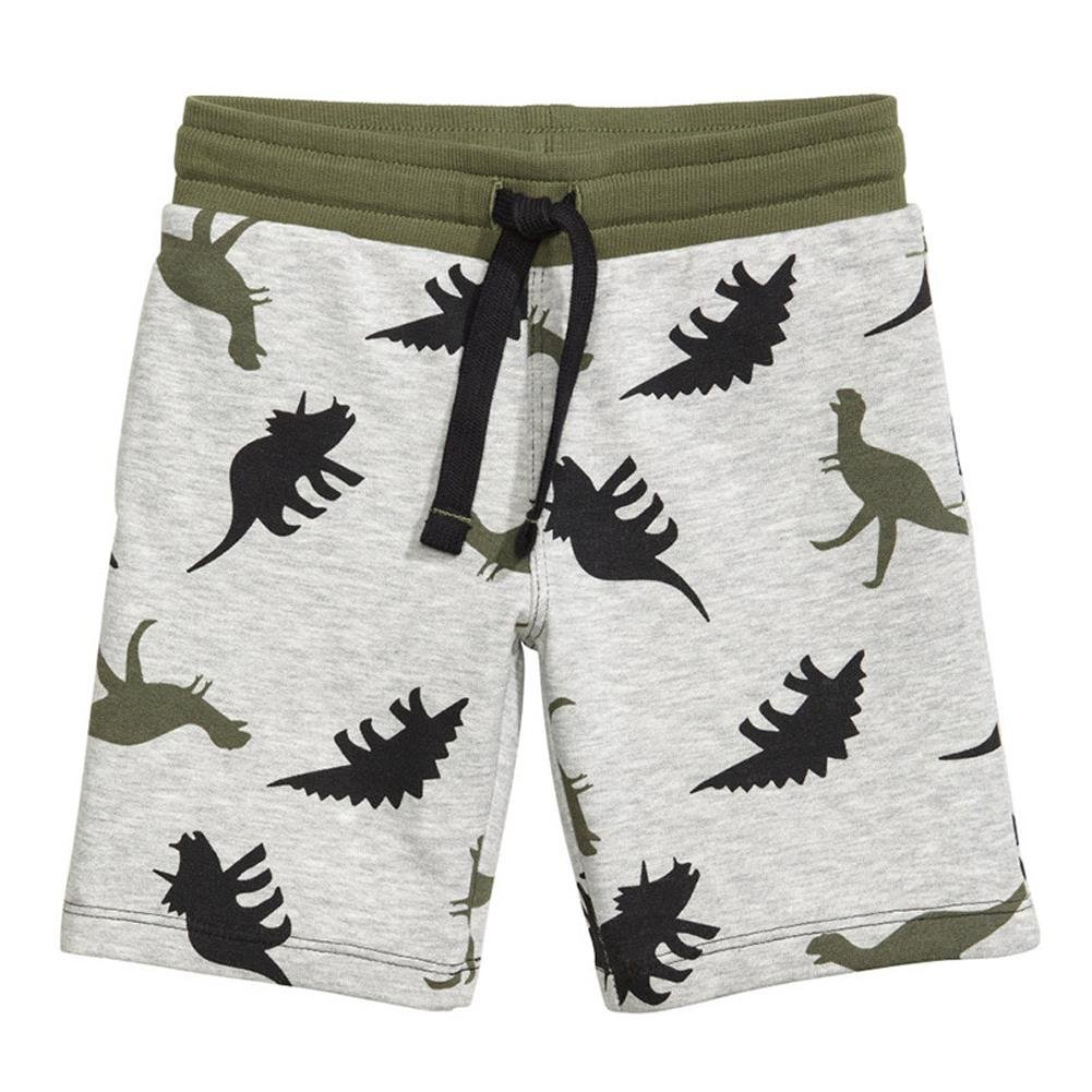 Coralup Little Boys' Cotton Shorts Dinosaur Summer Knee Lengthed Shorts 1-7 Years