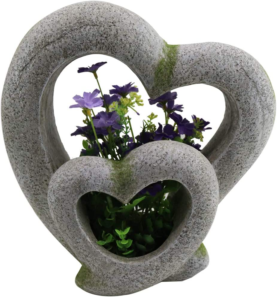 SUNBRIGHT Heart Garden Statue Outdoor Ornaments, Resin Love Sculpture Decorations for Home, Yard, Patio, 12