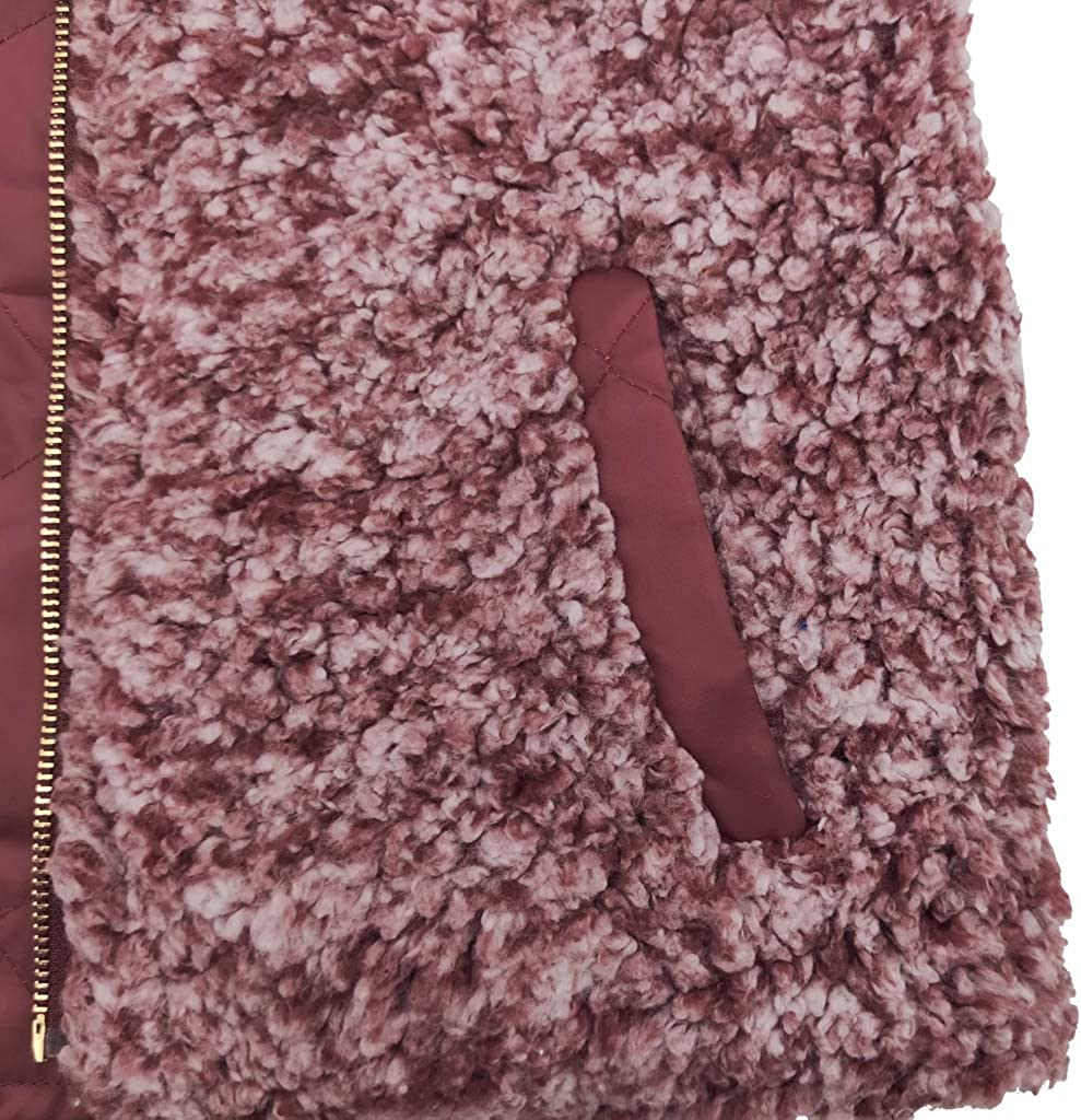 XOWRTE Vest Coat Womens Warm Plush Autumn Winter Sleeveless Reversible Wear Zip Up Lined Jacket with Pockets