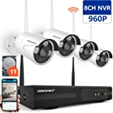[Expandable System] Wireless Security Camera System,SMONET 8CH 960P Video Security System with 1TB HDD,4pcs 960P Indoor/Outdoor Wireless IP Cameras,65ft Night Vision,Plug&Play,Easy Remote View