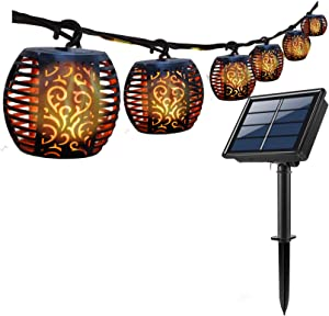 Solar Lights with Flickering Flame Outdoor, Solar String Lights Waterproof Decorative Hanging Patio Lights Outside Golbe Lighting for Garden Backyard Party Halloween Christmas