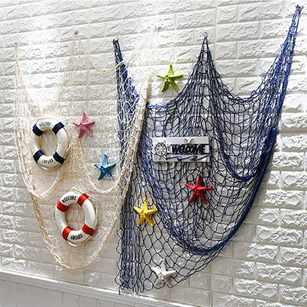 ChezMax Mediterranean Decorative Fishing Net Beach Theme Wall Hanging Fish Net Decor Party Decoration Natural Fish Net Party Accessory for Home Photographing 80x40 inches 2pcs(1pc White+ 1pc Blue)