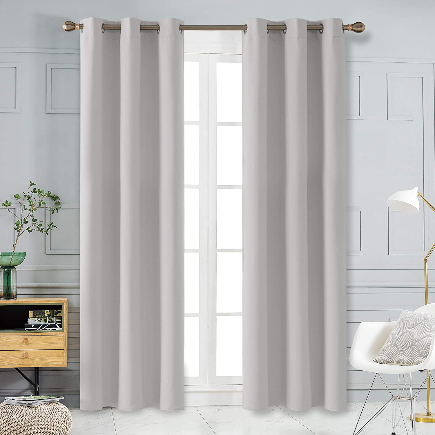 Deconovo Room Darkening Thermal Insulated Grommet Blackout Window Curtains for Living Room Curtain Panels Greyish White 42x95 Inch 1 Pair