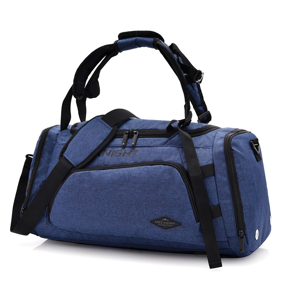 3-Way Fitness Sport 20-35L Gym Bag Travel Duffel Backpack with Shoes Compartment for Women Men Overnight Travel Tote Bag (Blue)