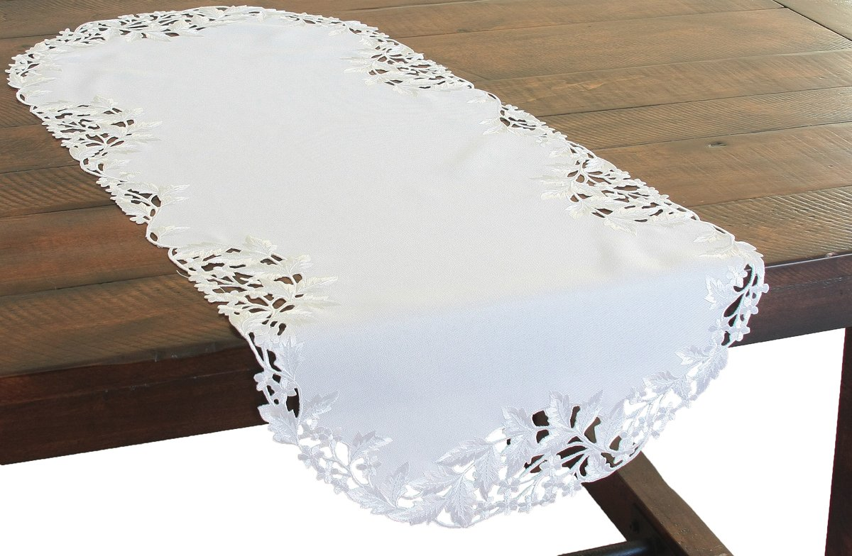 Xia Home Fashions Arietta Embroidered Cutwork Spring Table Runner, 16 by 34-Inch, White