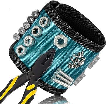 N/ägel Bohren Bits und Kleinwerkzeuge Schrauben Magnetarmband mit 15 leistungsstarken Magneten Magnet Armb/änder verstellbares Klettband zum Halten von Werkzeugen JTENG Magnetische Armb/änder
