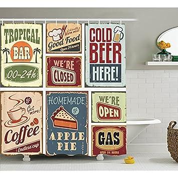 Yeuss Duschvorhang 50er-Jahre-Stil, Vintage, Kaffee-Getränke – Glas ...