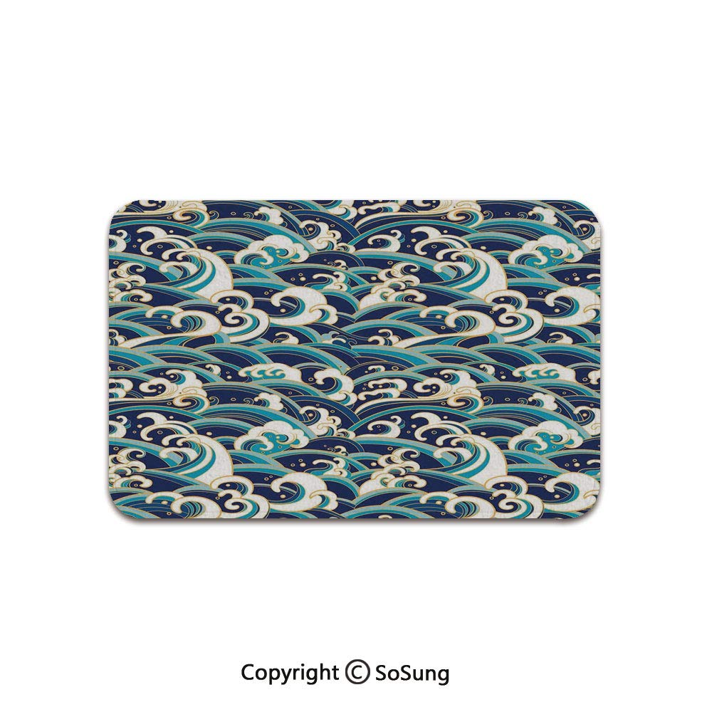 Nautical Decor Area Rug,Traditional Oriental Style Ocean Waves Pattern with Foam and Splashes Print,for Living Room Bedroom Dining Room,7'x 3',Blue White by SoSung