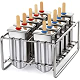kingleder Stainless Steel Ice Lolly Popsicle Molds Kit/Ice Pop Makers With Tray/100 Reusable Bamboo Sticks/16 Silicone Seals/20 Pop Bags/Cleaning Brush(Set of 10)