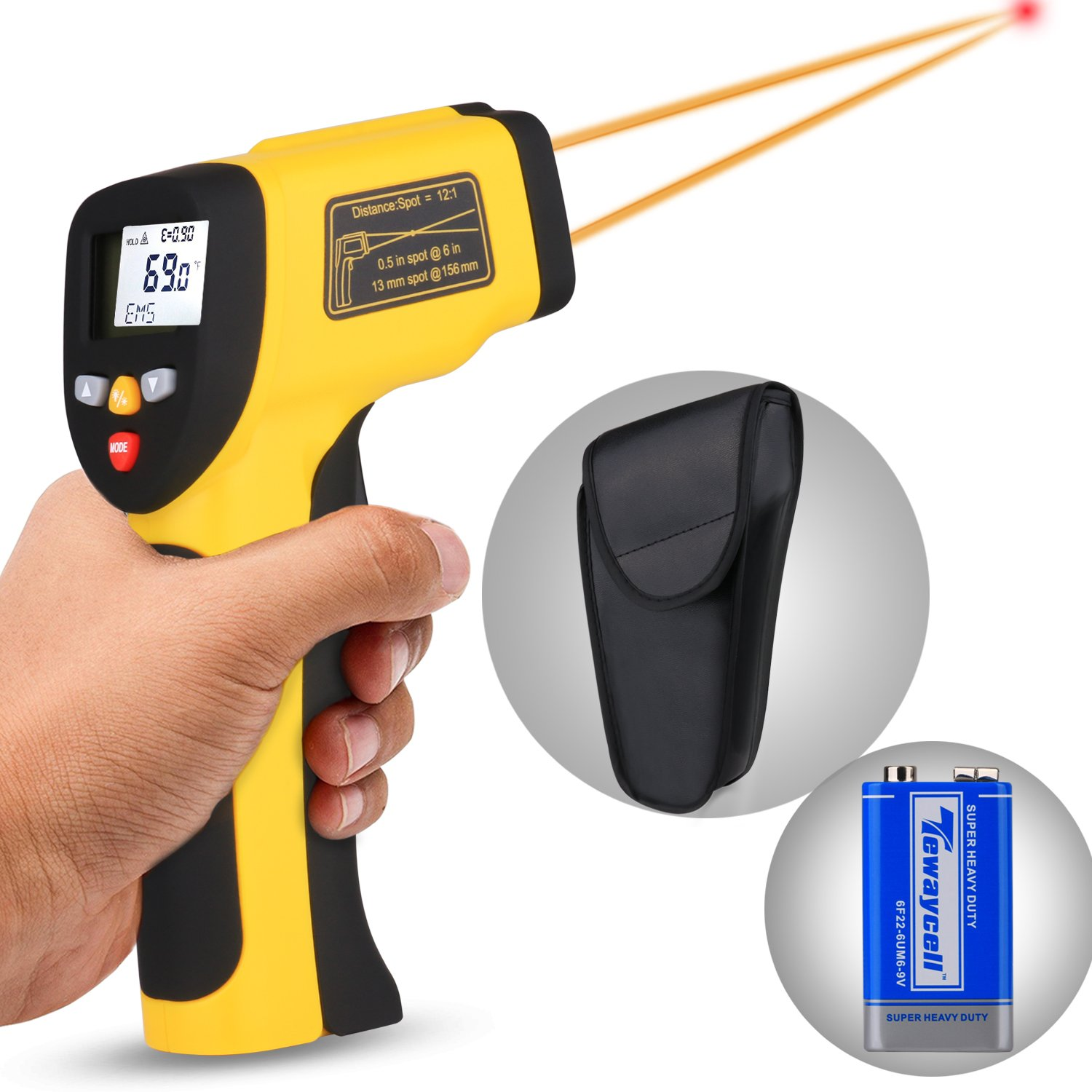 Dual Laser Infrared Thermometer, Zenic Professional Non-Contact Digital Temperature Measuring Gun with Adjustable Emissivity for Cooking/Brewing/Automobile & Industries, -50-650℃, D:S=12:1 by zenic