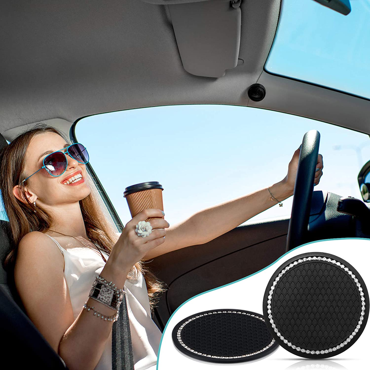 Trucks RVs and More Frienda 4 Pieces Car Coasters Rhinestone Car Cup Holders Silicone Anti Slip Coasters and 2 Pieces Car Bling Emblem Stickers Car Engine Ignition Button Rings for Most Cars