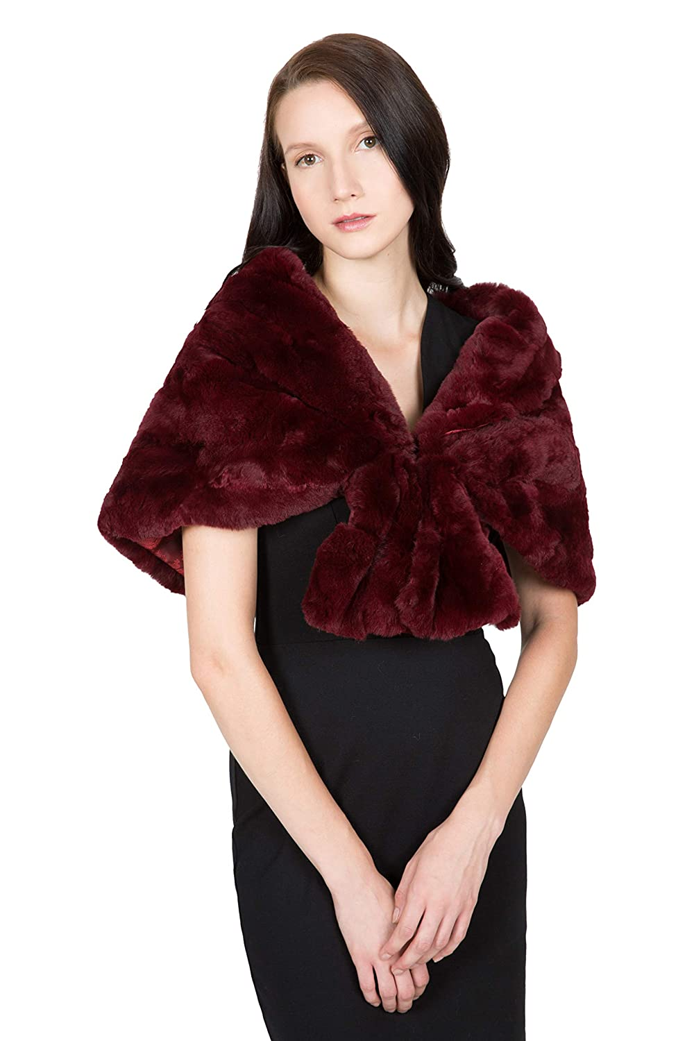 OBURLA™ Women's Genuine Real Rex Rabbit Fur Wrap Cape Shawl Stole (Wine)