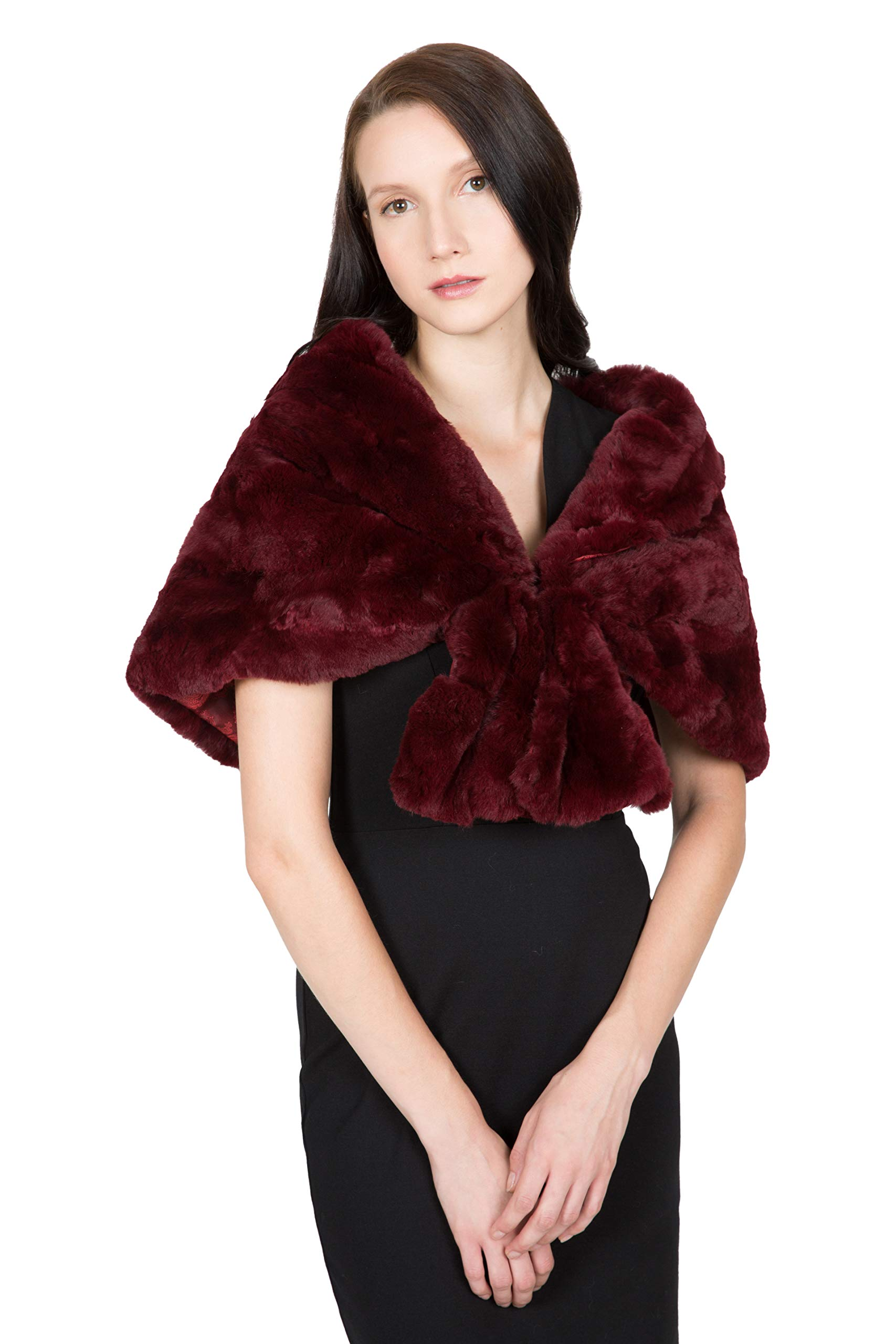 OBURLA Women's Rex Rabbit Fur Cape with Collar | Soft and Luxurious Real Fur Shawl Wrap Stole (Wine)