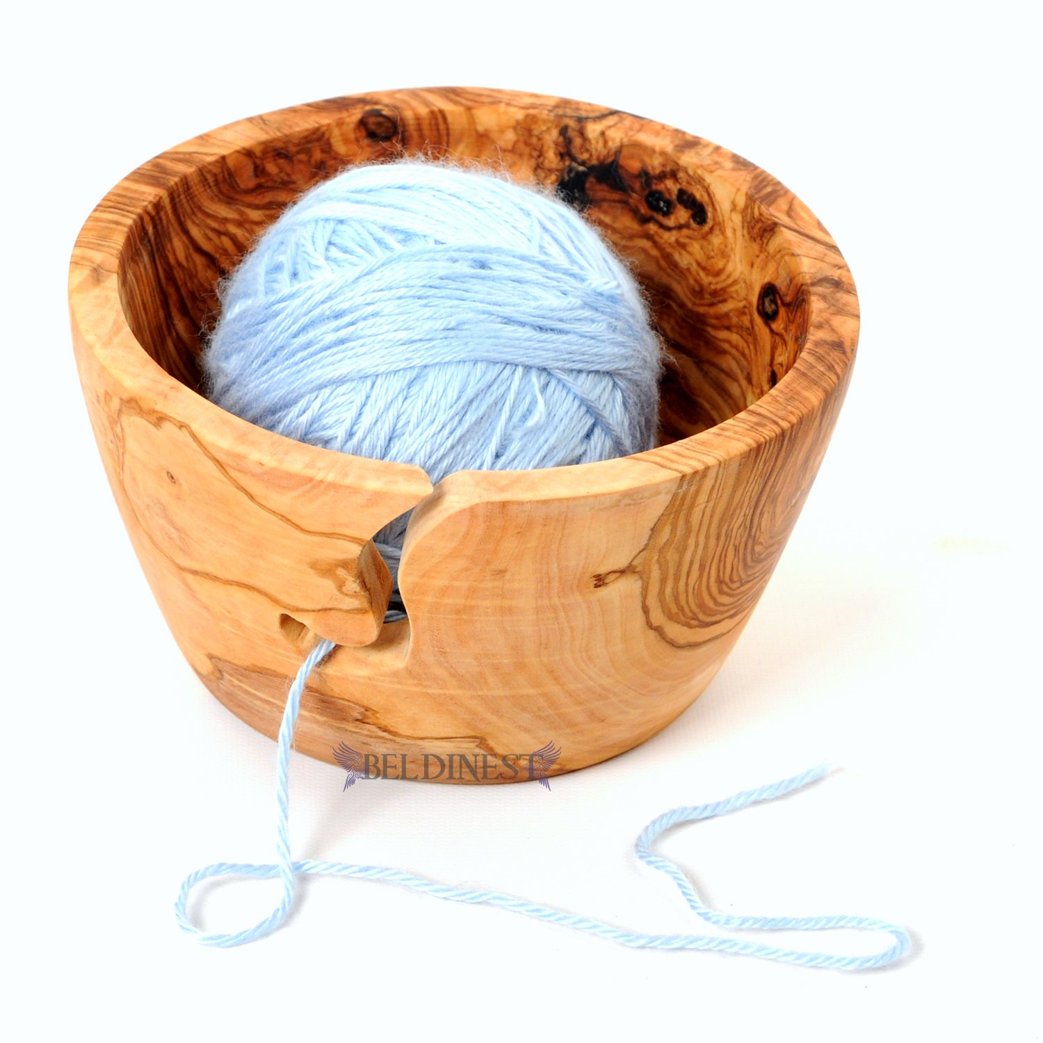 BeldiNest Sale! Knitting Bowl Hand-Carved from Olive Wood Yarn Bowl Gift Idea for Christmas