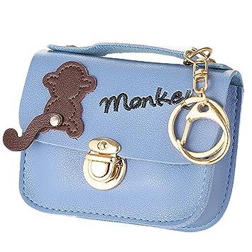 Dosige 1PCS Billetera de material de PU, Mujer Mini Cartera,billetera con cerradura,Bolso de Llave,Forma de Square Monedero size 12*9cm (Azul): Amazon.es: ...