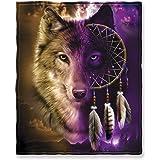 Dawhud Direct 超柔软全大号/中号羊毛毯,75 英寸 x 90 英寸 Wolf Dreamcatcher 75 x 90